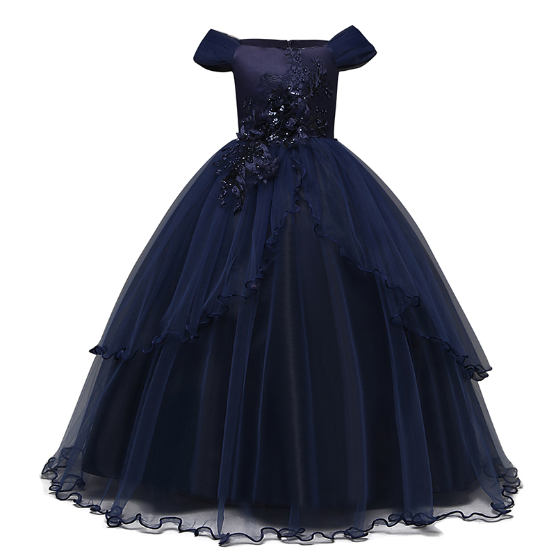 2019 Girls Summer Dress Embroidery Bridesmaid Princess Dress Kids Dresses For Girls Children Party Wedding Dress 10 12 14 Years 3