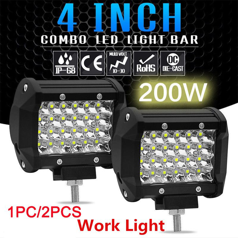 1PC 200W 4inch LED Combo Work Light Bar Spotlight Off-road Driving Fog Lamp Truck Boat