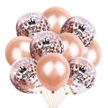 Ballons avec confettis en Latex, 10 pièces, 12 pouces, or Rose, couronne, chiffre, joyeux anniversaire, adultes, 16, 18, 21, 30 décorations de fête d'anniversaire