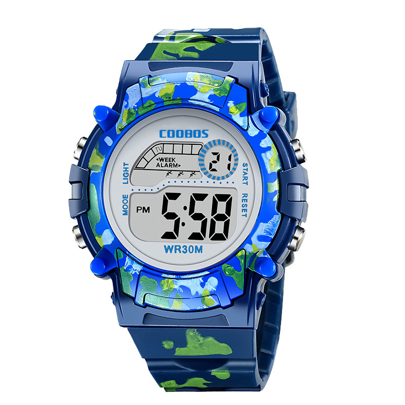 Navy Blue Camouflage Kids Watches LED Colorful Flash Digital Waterproof Alarm For Boys Girls Date Week Creative Children's Clock