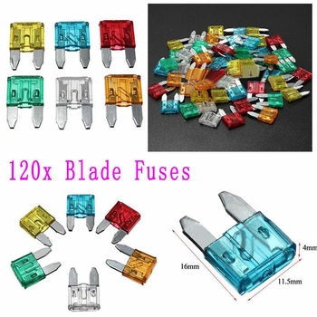 120pcs Assortment Car Fuse Auto Truck SUV Fuses Mini Blade Fuse Kits Set 5-30A new original 800a 690v 170m5264 semiconductor fuse electrical fuse types safety fuses