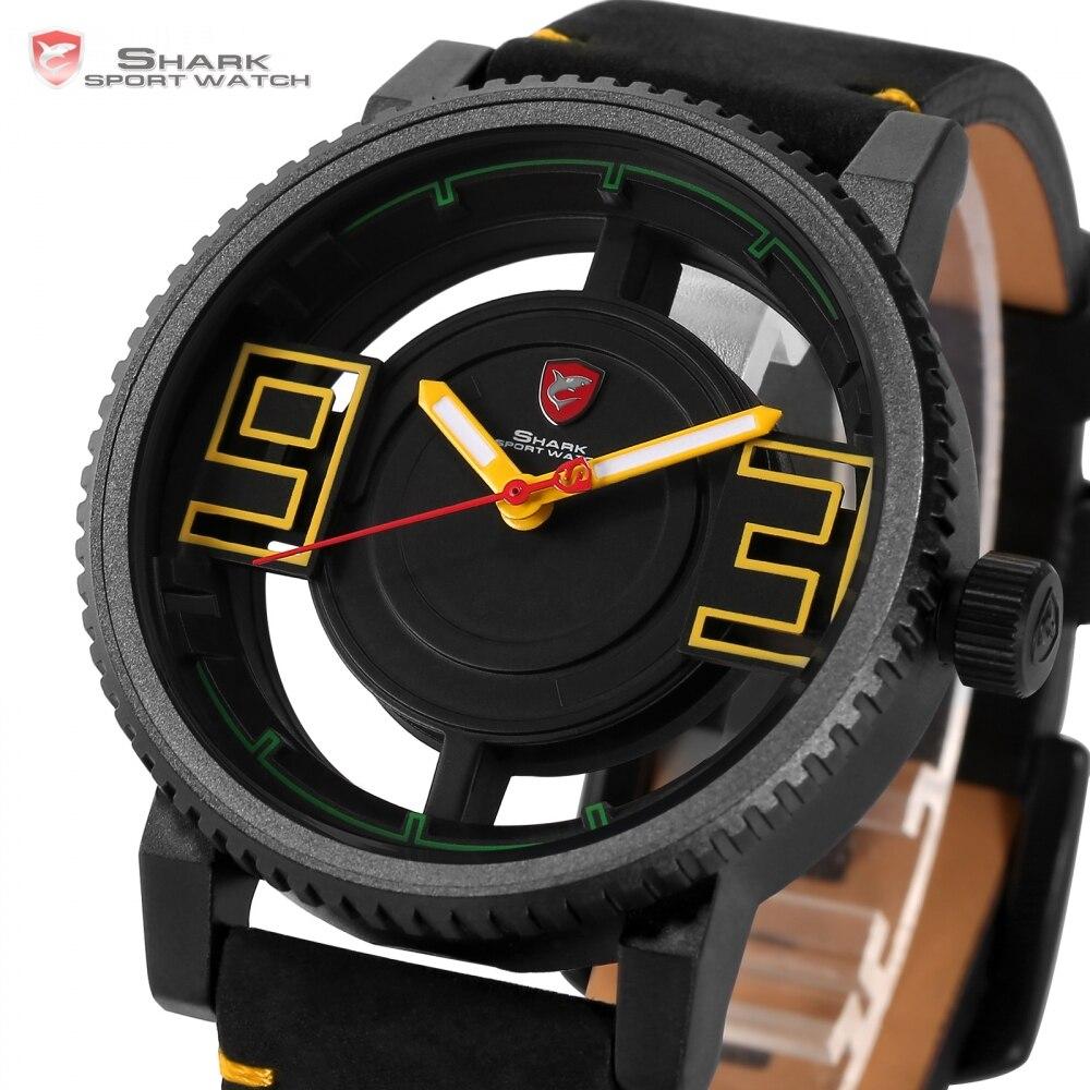 Shark Watch Men Sport Ultra 3D Transparent Hollow Dial Gearwheel Bezel Leather Man Designer Creative Watches Gift /SH544
