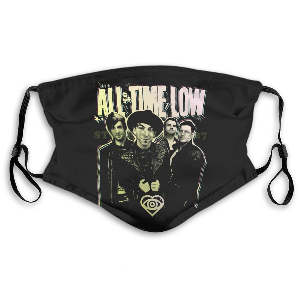 Face Mask All Time Low 'Neon Photo' Nuovo E Originale Anti Dust With Filter For Men For Women Kids Girl Boy Teens Masks