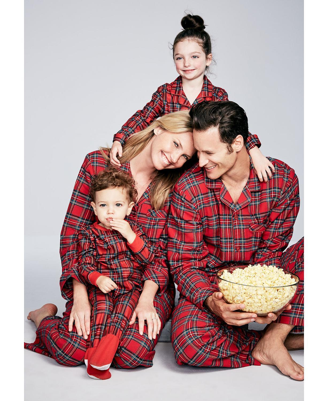 7-8T, Kids Family Matching Christmas Pajamas Polar Bear Print 2Pcs PJs Sets Long Sleeve T-Shirt+Plaid Long Pants Sleepwear Homewear