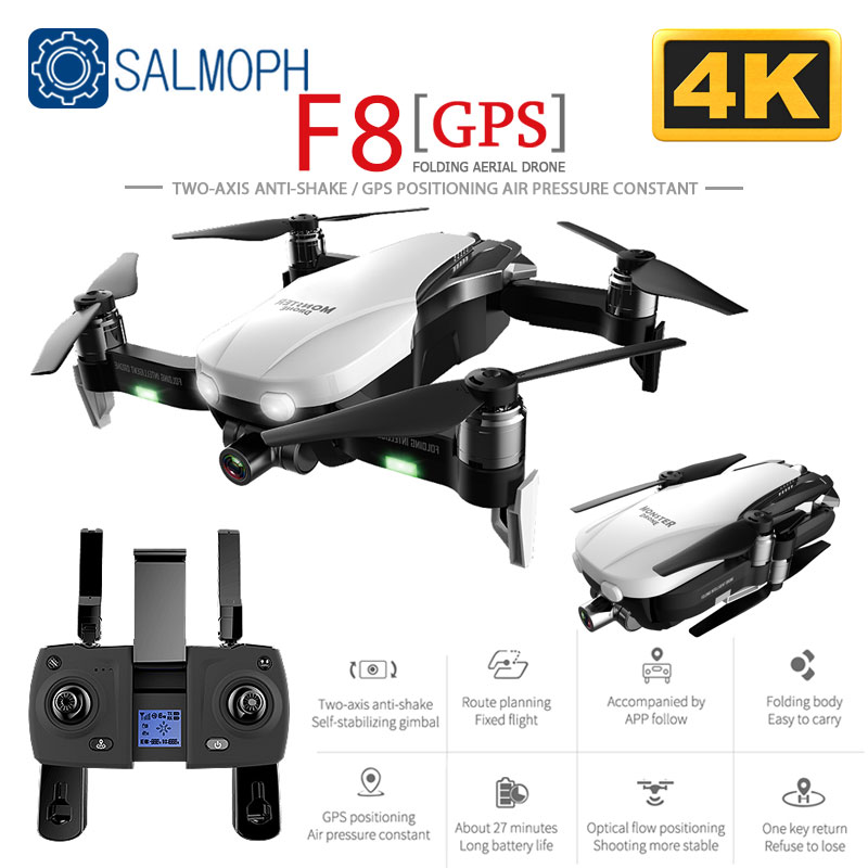SALMOPH F8 GPS RC Drone with Two-axis anti-shake Self-stabilizing gimbal Dual Camera Gesture Control 5G Wifi FPV Brushless Motor