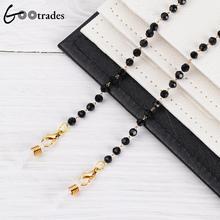 Metal Sunglasses Chain Lanyard Necklace Acrylic Cord Beads Fashion Black Gootrades