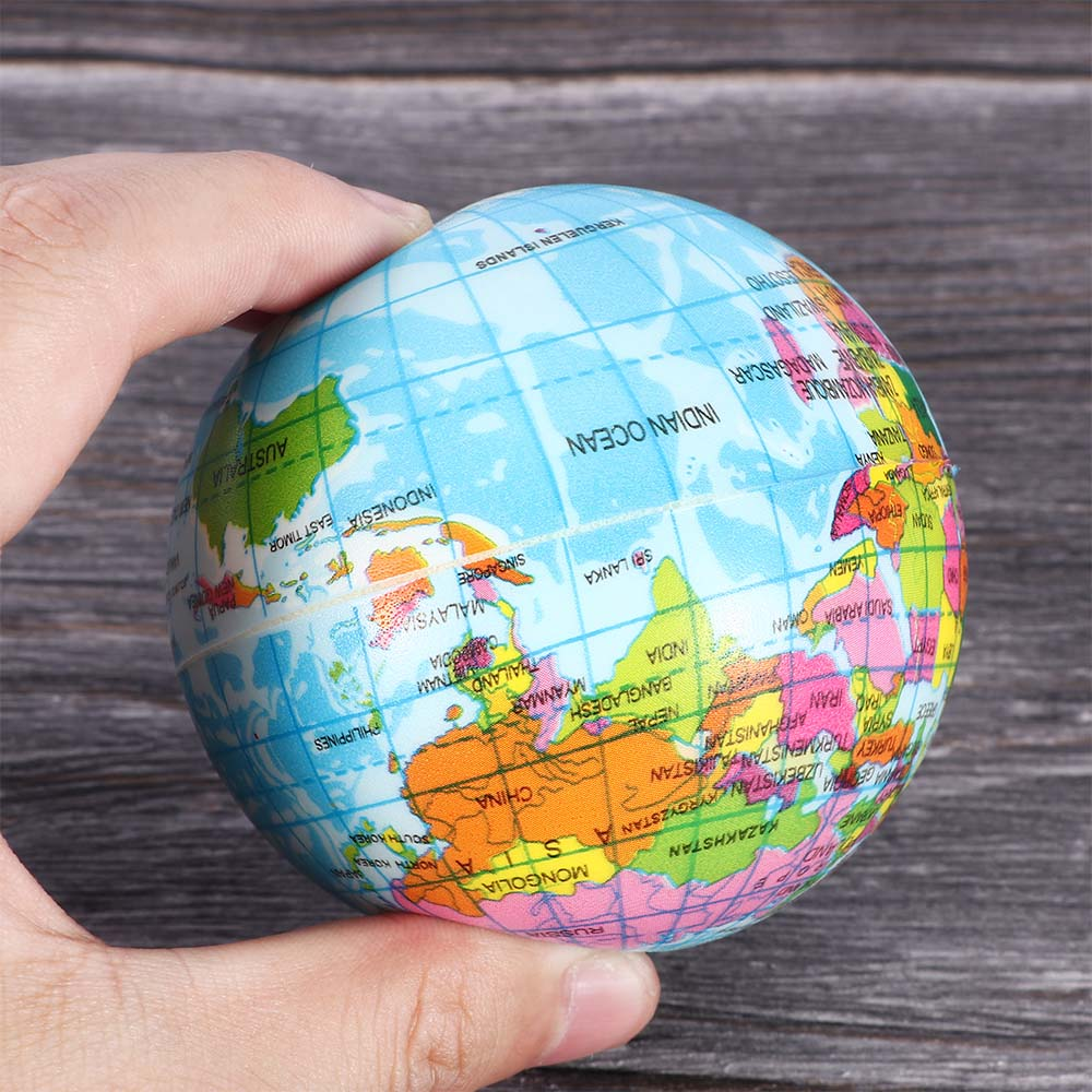 1pcs Fashion Funny Soft Earth World Map Globe Foam Stress Relief Bouncy Ball Geography Map Teaching Hand Squeeze Ball