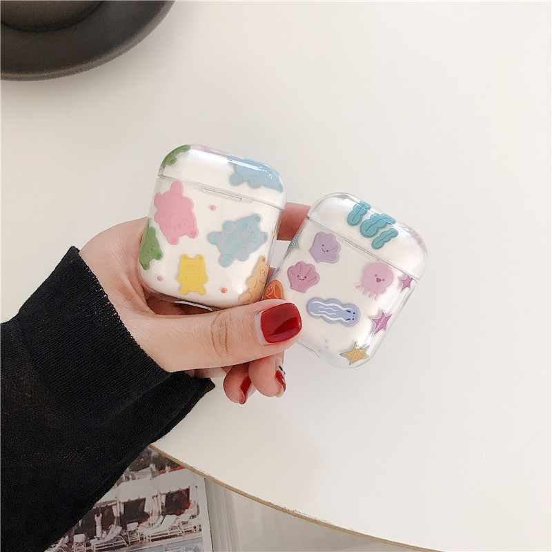 Cartoon Bear Transparent Bluetooth Earphone Case For Apple Airpods Cover Funny Cute Hard Case For Air Pods 2 1 Headphone Capa