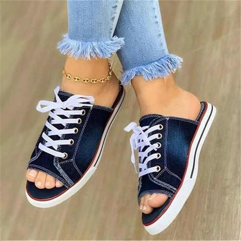 2020 Fashion Vrouwen Canvas Sandalen Ademende Zomer Slippers Lace Up Open Teen Dames Faux Denim Platte Schoenen Zapatos Mujer