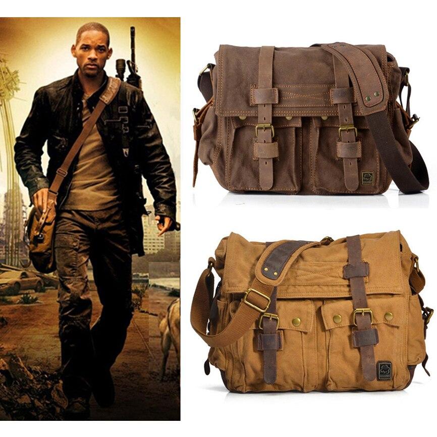 I AM LEGEND Will Smith military canvas   Genuine leather Men  messenger bag canvas shoulder bag men Crossbody Bag Casual Bag 2020bag  exchangebag towelbag england