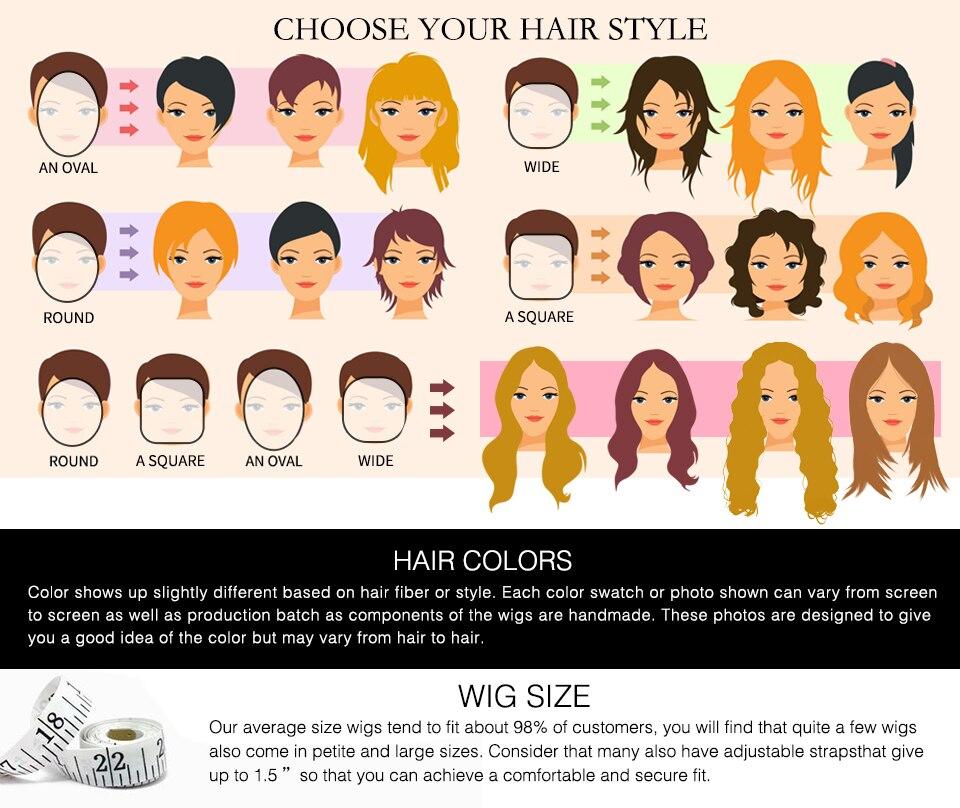 ombre para mulheres sintética natural cosplay perucas