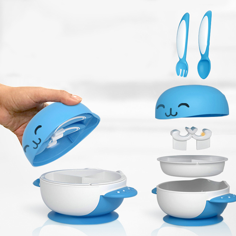 6PCS/Set Child Suction Cup Dishes Sucker Bowl Baby Kids Feeding Toddler Training Plate Spoon Gift Slip-Resistant Tableware