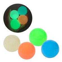 45mm Luminescent Stiky Balls Throw at Ceiling Stick Wall Ball Sticky Target Squash Ball Balls Kids Sucker Ball Toy Birthday Gift