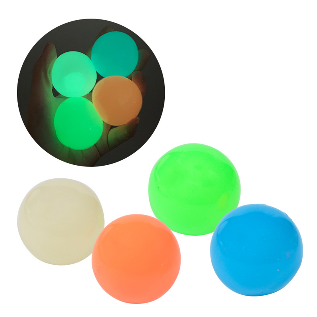 Luminescent Stiky Balls Throw at Ceiling Stick Wall Ball Sticky Target Squash Ball Balls Kids Sucker Ball Toy Squash Balls