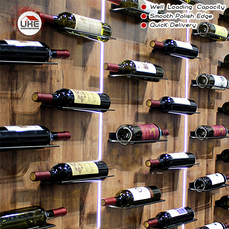 Never Rust Wall Mounted  Wine Bottle Rack Holder Display Shelf Kitchen Bar Exhibition Creative Red Wine Rack Wall