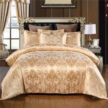 2-3 uds edredón + funda de almohada de lujo europeo satén Jacquard ropa de cama de plata de oro gris ropa de cama/AU/EU/US tamaño textiles para el hogar