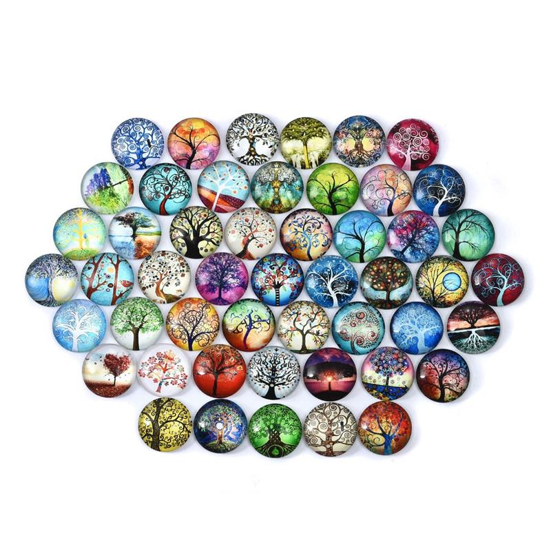 Tree Of Life Round Glass Cabochons 12/20/25mm Dome Flat Back For Earring Bracelet Pendants Base Handmade Jewelry Making 50Pcs