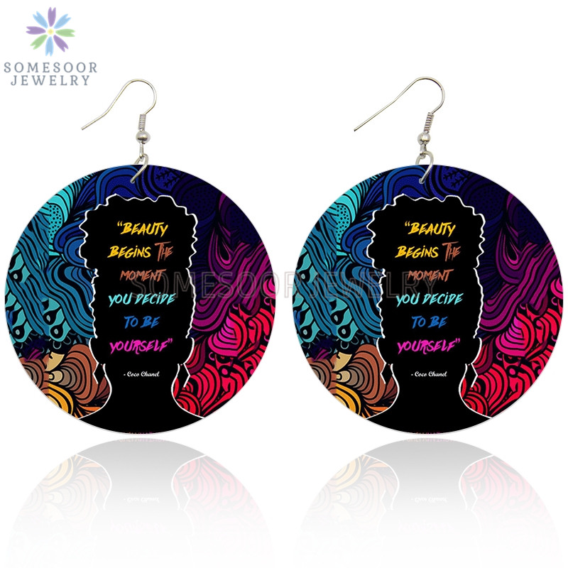 SOMESOOR #Powerful Black Sayings Afro Natural Hair Wooden Drop Earrings Both Sides Print African Wood Jewelry For Women Gifts
