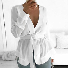 Fashion Women Long Sleeve Blouse Sexy V-neck Shirts Autumn Loose Blouses Streetwear