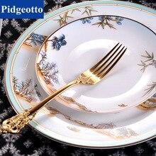 Chinese Style Luxury Porcelain Dinner Plates Creative Ceramic West Lake Hotel Tableware Cutlery Set Decorative Flat Steak Plate