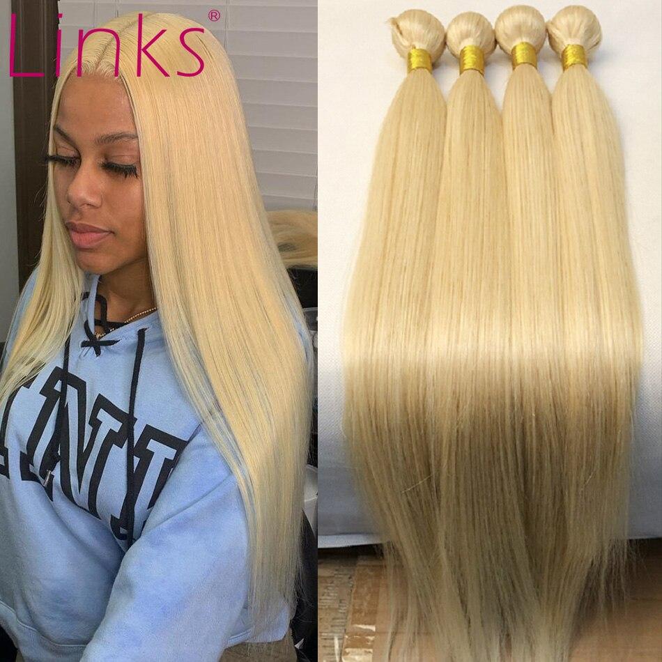 Светлые бразильские волосы Links 28, 30 дюймов, 613, медовый светлый волос, 1, 3, 4 пряди, прямые, Remy, вьющиеся человеческие волосы, уток, бесплатная до...