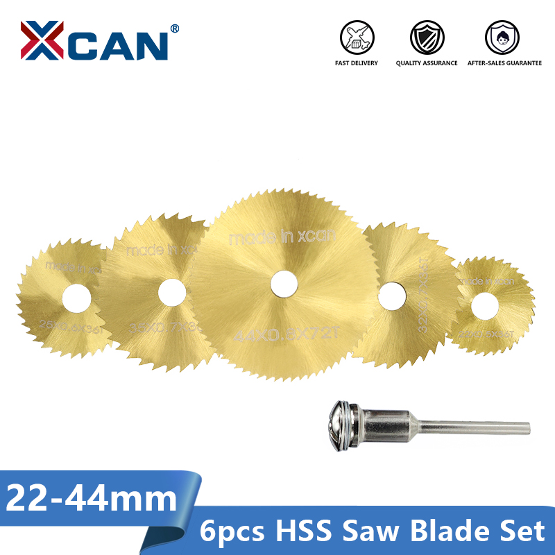 XCAN Titanium Coated Mini Rotary Cutting Disc 22/25/30/35/44mm With 3mm Mandrel Woodworking Circular Saw Blade