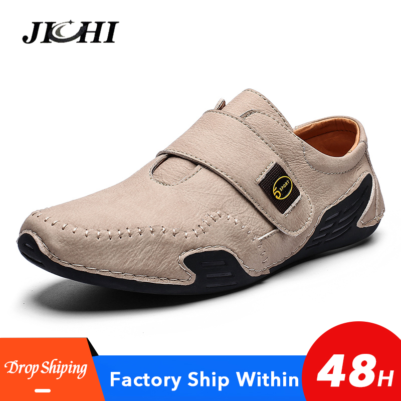 2020 Men Shoes Casual Leather Flat Slip-on Mens Shoes Handmade Summer Footwear Fashion Shoes Men Hot Sale 46