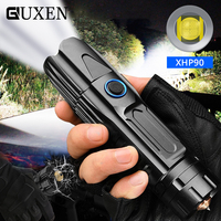 High Power XHP50/70.2/90 Super Bright LED Tactical Flashlight Hunting Torch USB Charge Telescopic Zoom Lamp Use 26650 Battery