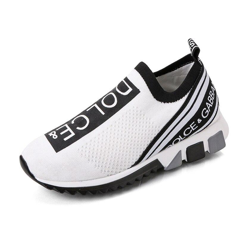 Fashion Casual Shoes Mesh Comfortable Socks Shoes 2020 Breathable Elastic Soft Bottom Ladies Sneakers White Design Tennis Shoes