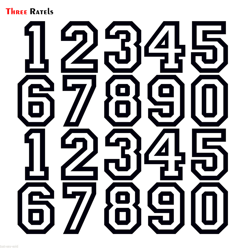 Three Ratels FTZ-220 Vinyl Die Cut Neon Fluorescent  Racing Number Sticker For Car Motor Bike Truck Laptop Helmet