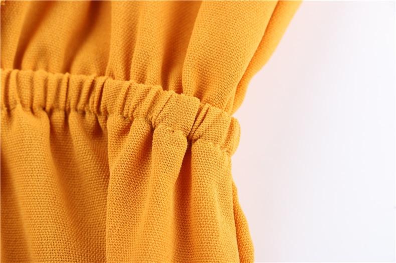 Ruffle Off Shoulder High Waist V Neck Casual Boho Beach Yellow Dress 9
