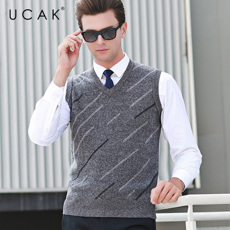 UCAK Brand Pure Merino Wool Sweater Vest 2019 New Arrival Casual Autumn Winter Pull Homme Streetwear Sweaters Clothes U3109