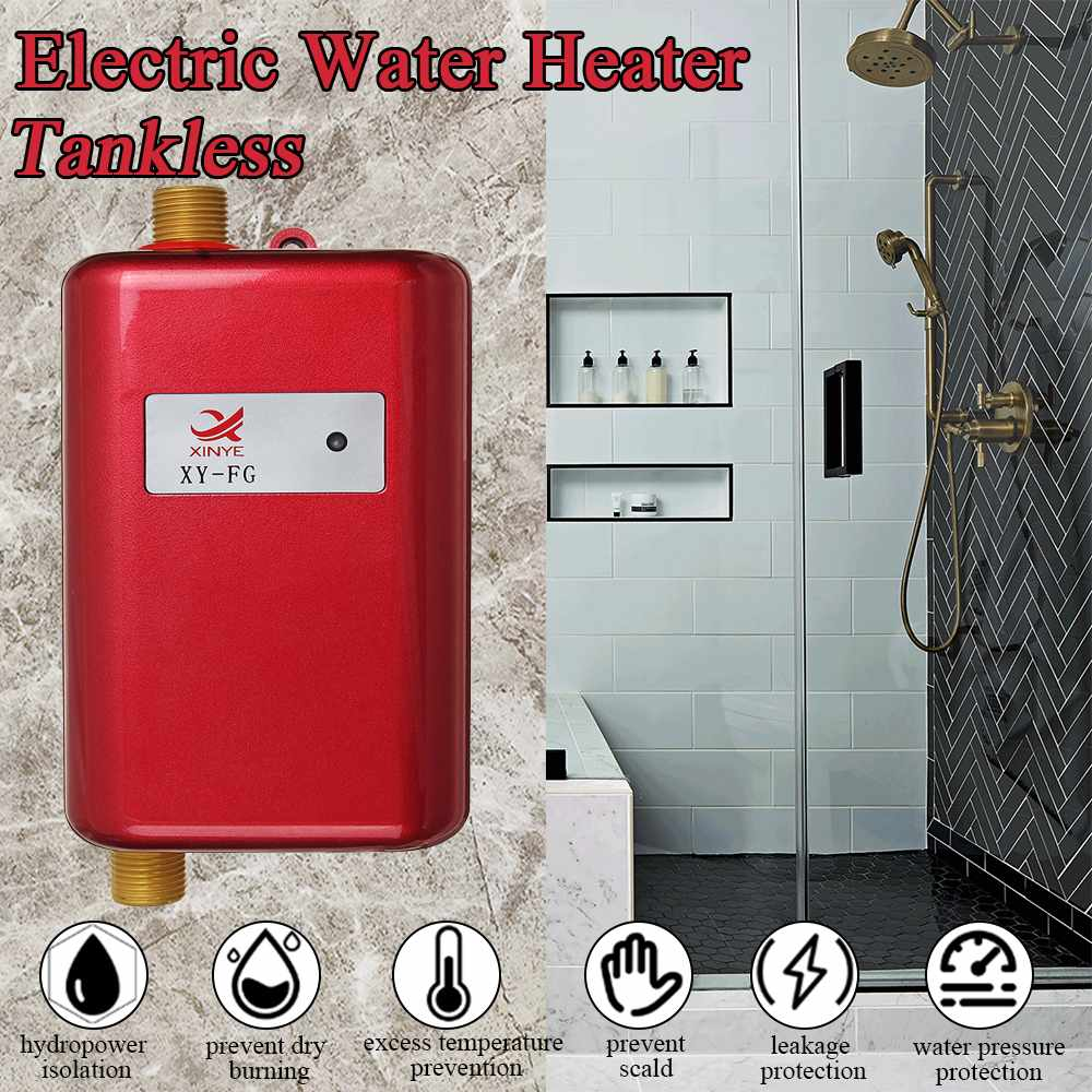 Hot Electric Water Heaters Instantaneous Instant Tankless Kitchen Water Heaters Faucet Temp Display Heating Shower Universally