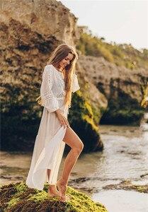 Image 3 - Weiß Spitze Strand Kleid Für Frauen Lange Kaftan Sonne Beachwear Kleider 2020 Sommer Sommerkleider Plus Größe Tunika Robe Blanche Saida de