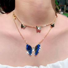 Женское многослойное ожерелье flatfoosie с подвеской бабочкой