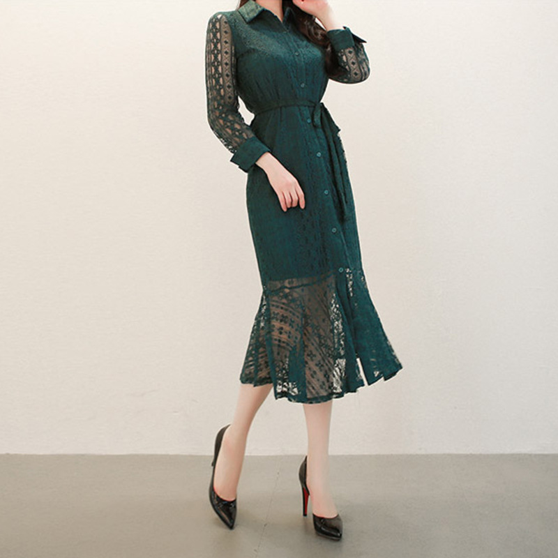 2019 Spring And Autumn New Products Slim Fit Elegant Retro Shirt Lace Lace-up Long Sleeve Fishtail Dress