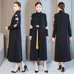 Inverno novo elegante mistura de lã feminina coreano moda preto longo casacos de lã minimalista do vintage casaco camelo oversize outwear