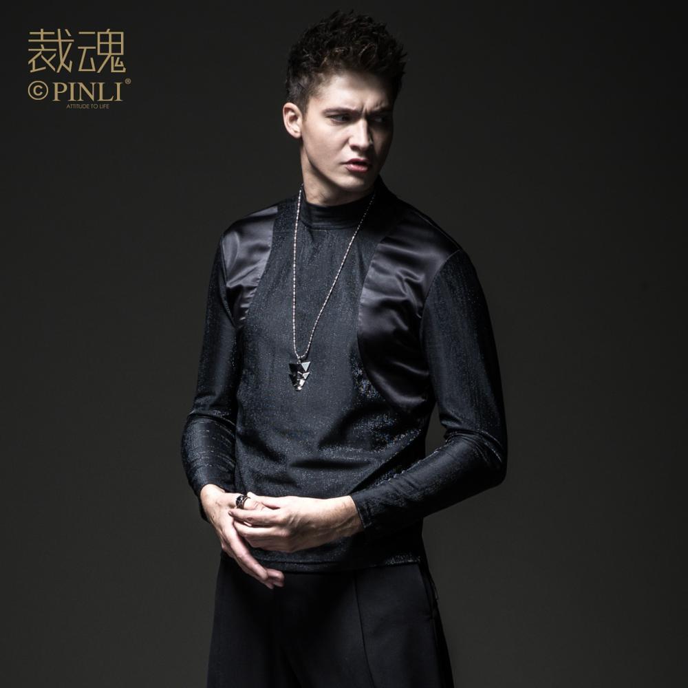PinLi t shirt Spring New Men's Slim Fit Stitching Long Sleeve T-shirt Top BC183111036