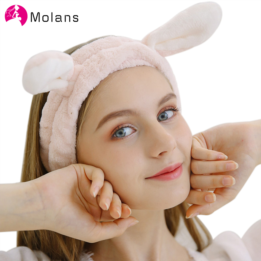 Molans Women Make Up Face Washing Rabbit Ears Coral Fleece Headbands Soft Elastic Hair Ribbon SPA Bath Shower Hair Band Headwear