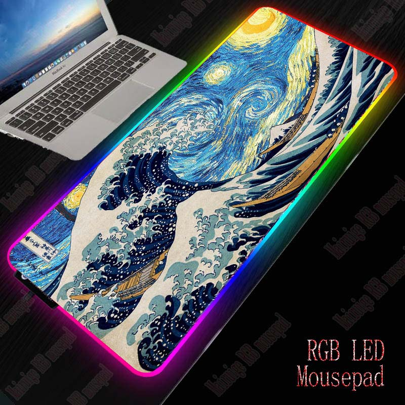Mairuige Wave Art RGB Gaming Mouse Pad LED Extended Illuminated USB Keyboard Thicken Colorful Luminous For PC Laptop Desktop 1