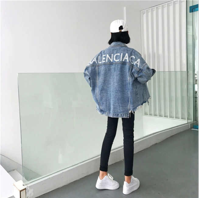 AliExpress 2019 Autumn And Winter Korean-style Hong Kong Style Smell Printed Letter Loose-Fit Irregular Jeans Coat Jacket