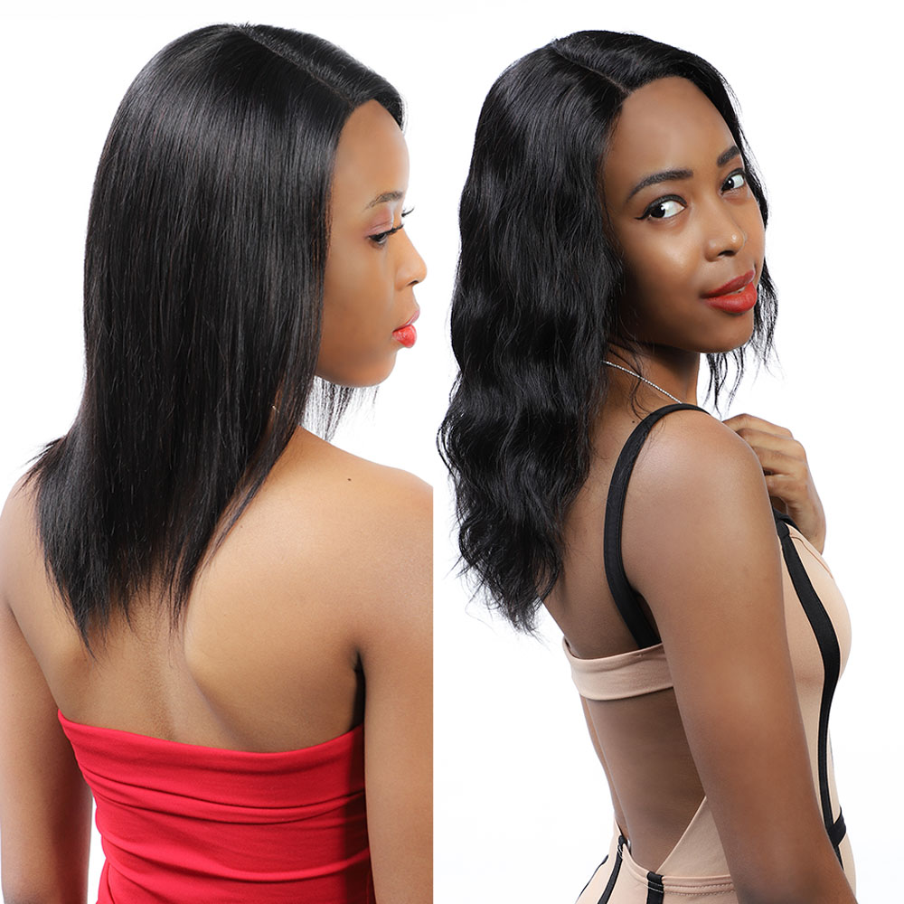 Wet And Wavy Human Hair Wigs Straight Remy Brazilian Lace Front Human Hair Wigs With Natural Hairline 13*2 Become Wave After Wet
