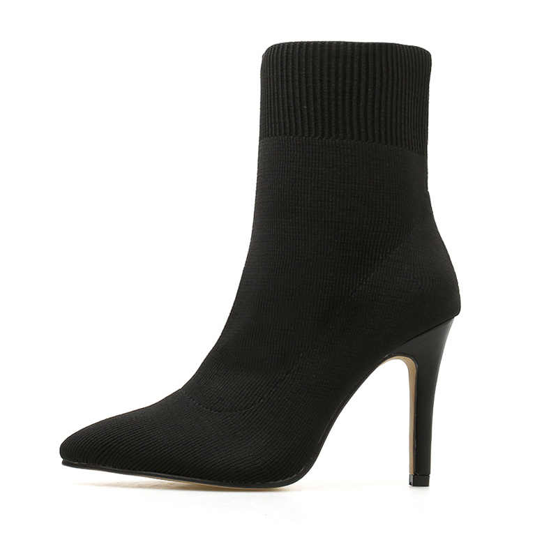 2019 frauen Stretch Stiefel Stripper 9,5 cm High Heels Stiefeletten Dame Partei Stiletto Thin Heels Fetisch Winter Schlank Stricken schuhe