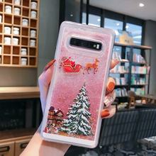JAMULAR Bling Glitter Quicksand Christmas Phone Case For Samsung Galaxy Note 8 9 S8 S10 S9 Clear Soft TPU Back Cover Santa Claus(China)