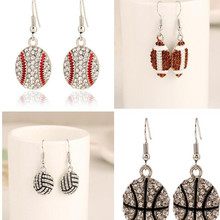 one pair fashion sport mix base ball/basketball/American football crystal earrings xye164