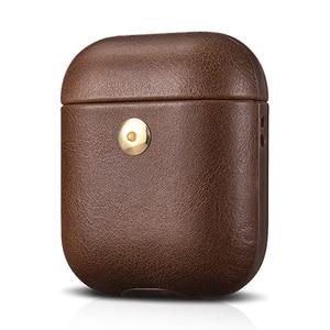 Image 5 - كريزي هورس حقيبة جلدية لأبل إيربودس بلوتوث اللاسلكية سماعة حافظة جلدية غطاء ل الهواء القرون 2 غطاء شحن صندوق حالات