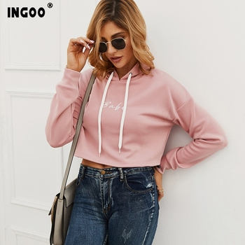 INGOO Simplicity Women Embroidery Cropped Hoodies Casual Sexy Pink Long Sleeve Crop Top Pullover Female Hooded Sweatshirts black long sleeves rose embroidery pattern cropped top