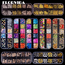 FlorVida 12 colors Kit Boxed Rhinestone AB Strass Alloy 3D Decorations Hibrid Crystal Metal Studs Pearl For Nails Manicure Set