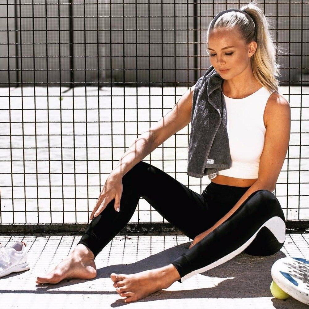 2019 Европа и Соединенные Штаты девять точек боковые белые длинные полосы простроченные женские фитнес спортивные леггинсы одежда