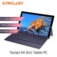 Teclast X4 2 en 1 Tablet PC portátil 11,6 'IPS Windows 10 Celeron N4100 Quad Core 8GB RAM 256GB SSD 5MP HDMI tipo-C con teclado
